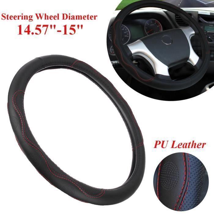 14.57 '' - 15 '' Volant Cuir PU Quatre Couleurs Pour Toyota Honda Nissan Mazda noir et rouge FR57434