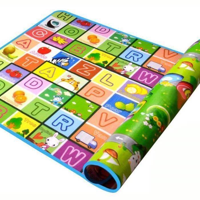 180*120*0.5cm Tapis de Jeu Jouet Tapis D'éveil pour Bébé Enfant Bas Age Motif Dessin Alphabet Chiffres Animaux