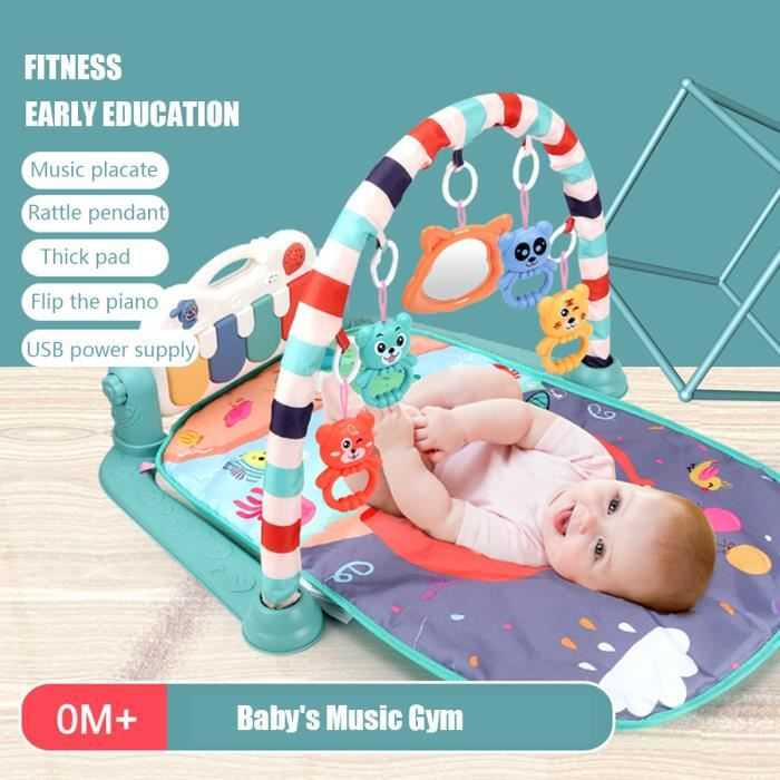 Tapis d'Eveil Piano A Pédale Pour Bébé Avec Musique Tapis de Jeu Fitness Rack Tapis Rampant Avec Jouets Suspendus