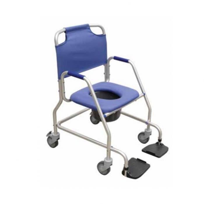 Chaise de douche en aluminium avec toilette et roues