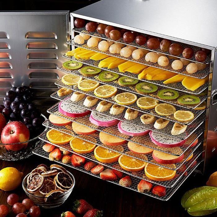 Déshydrateur avec 10 Plateaux empilables pour cuisine famille aliments santé A010 HB010