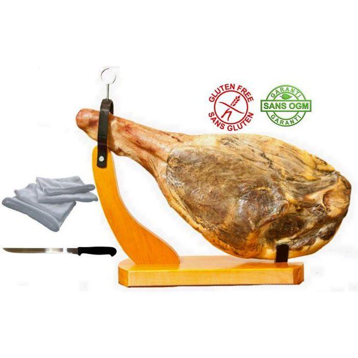 Jambon Serrano avec os sans patte env.6.5kg avec son support gondole, son couteau, et son sac à jambon en cadeaux.