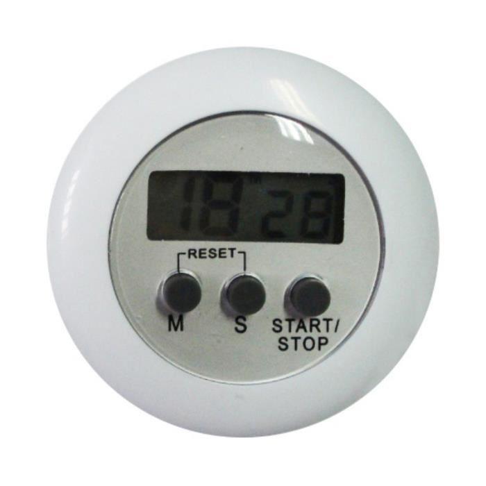ENERGY 01 - Minuteur Blanc numérique de cuisine magnétique avec alarme sonore écran LCD