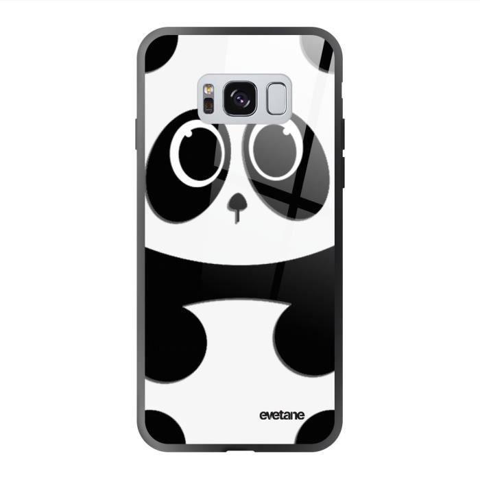 Coque en verre trempé Samsung Galaxy S8 noir Panda Ecriture Tendance et Design Evetane