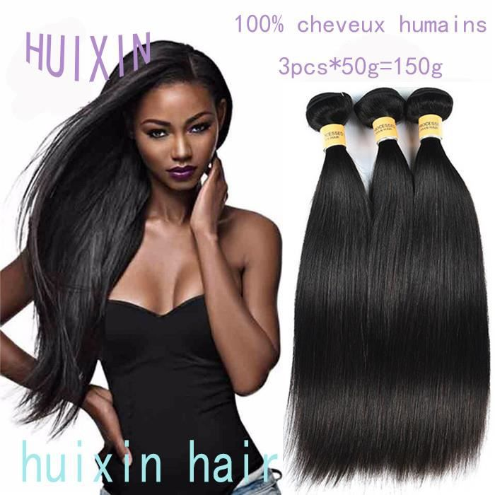 HUIXIN 3 tissage bresilien 50g-p virgin hair cheveux naturels meches 8 10 12pouces