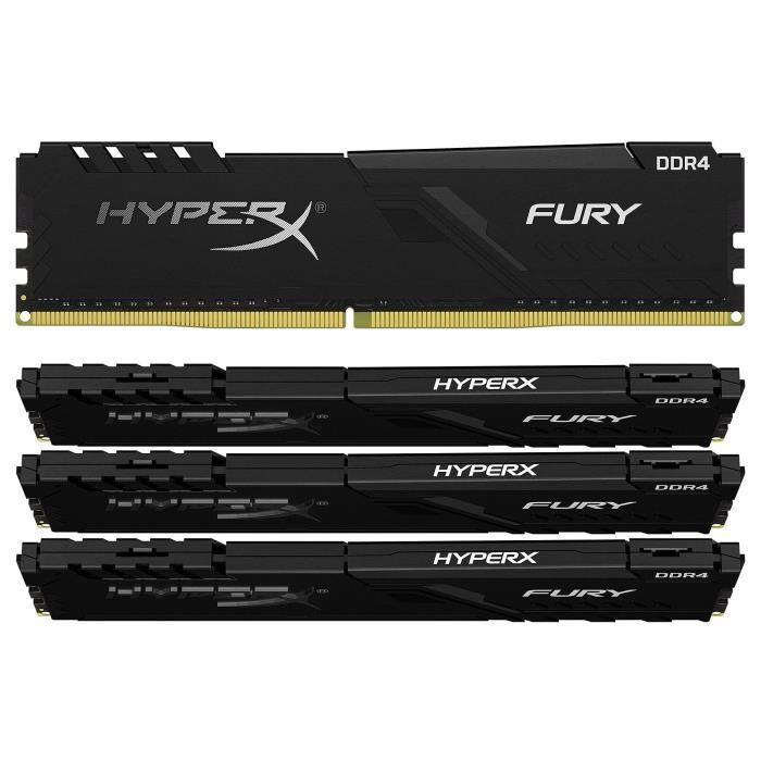 HyperX Fury 128 Go (4x 32 Go) DDR4 2666 MHz CL16 - Kit Quad...