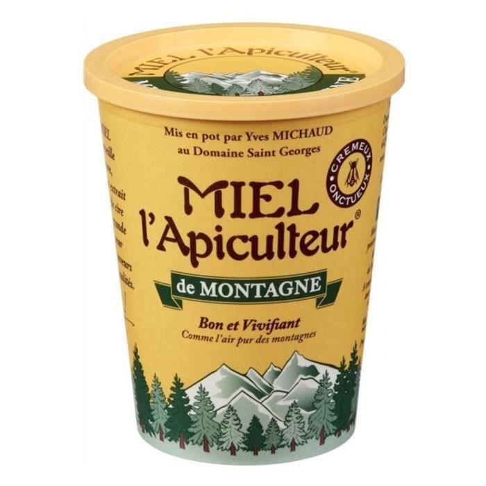Miel l'Apiculteur de Montagne Bon et Vivifiant Crémeux Onctueux 500g (lot de 4)