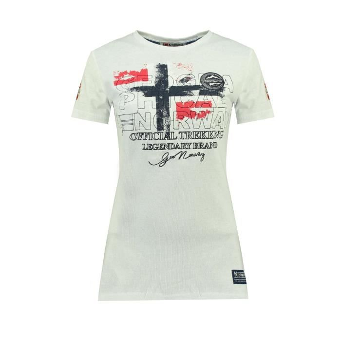 Tshirt Femme Geographical Norway Jarry Blanc