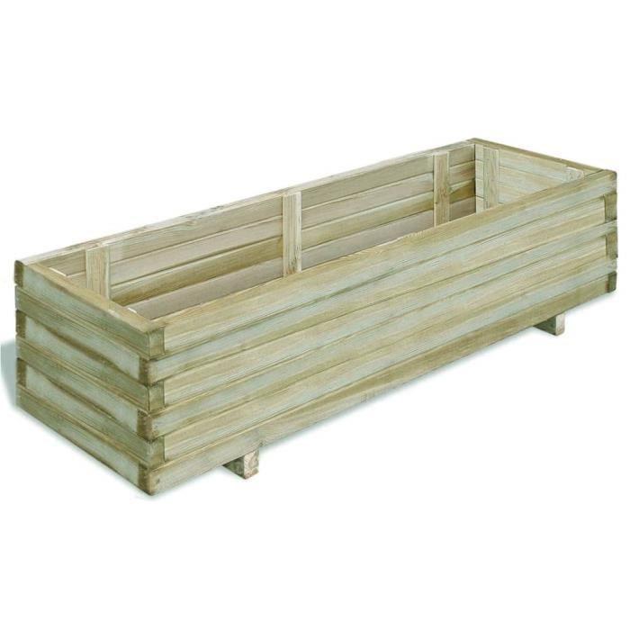 Jardinière rectangulaire en bois 120 x 40 x 30 cm