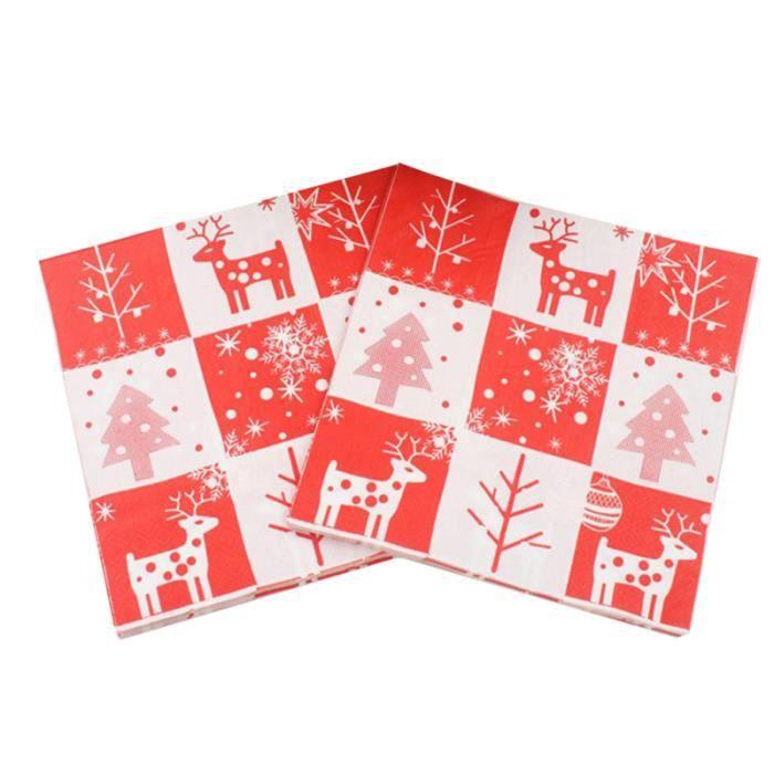 20 pièces imprimées serviettes de noël jetables cerf de wapiti papier essuie-tout en pour les enfants de fête de NAPPE DE TABLE