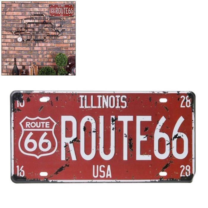 CSurenhap Wall Deco Ornement Murale Route 66 USA R66 Affiche d'art Vintage Signe en m&eacutetal pour Garage Home Cafe Bar