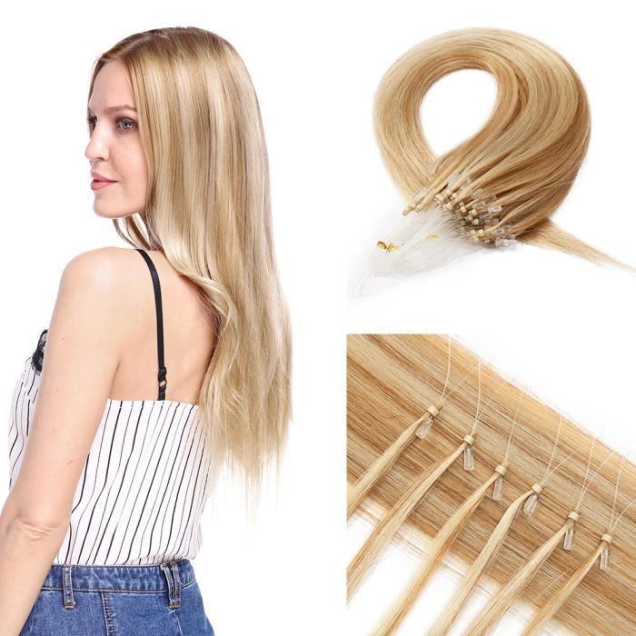 22 Pouces Extension Micro Loop Extension Anneaux Cheveux Naturel 50G [100 Mèches X 0.5G-Mèche] Extension A Froid - #12P613 Marron
