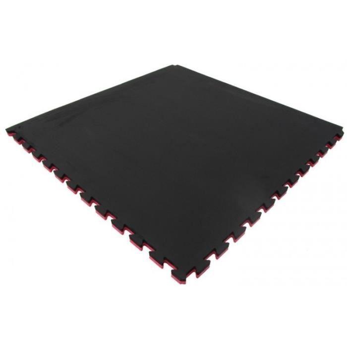TUNTURI Tapis à pièces de puzzle - Epaisseur 2 cm - S'utilise des deux côtés - Rouge/Noir