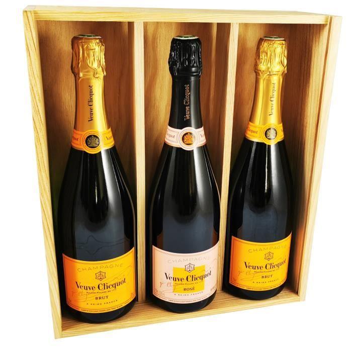 Veuve Clicquot Champagne Mix - Rosé - 2 * Carte Jaune - Dans coffret bois
