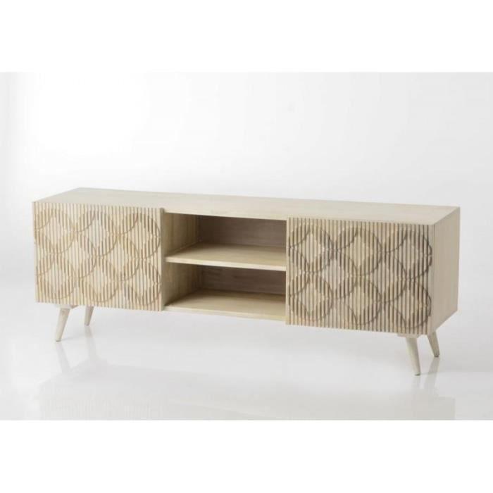 Meuble Tv Moderne En Manguier Blanchi Sculpte Decor Achat