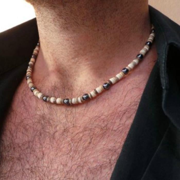 collier bois homme