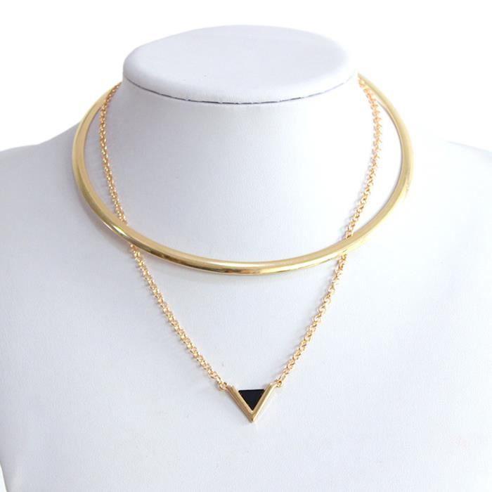 Femmes Chic Bijoux or cristal Triangle Pendentif Collier Tour de cou clavicule chaîne