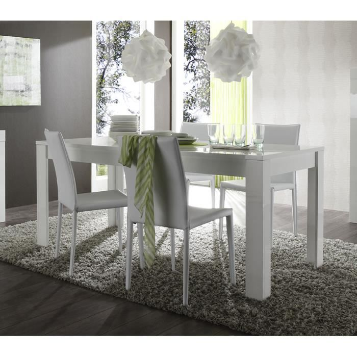 Table manger blanc laqu design pietra table 160 cm for Table a manger blanc laque