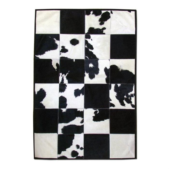 tapis patchwork en peau de vache noire et blanche achat vente tapis cdiscount. Black Bedroom Furniture Sets. Home Design Ideas