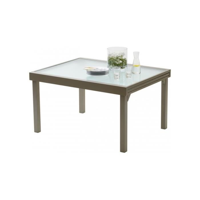 table de jardin rectangulaire extensible aluminium taupe. Black Bedroom Furniture Sets. Home Design Ideas