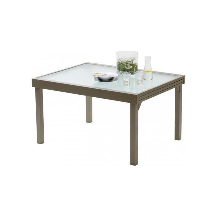Table de jardin rectangulaire extensible aluminium taupe et ...