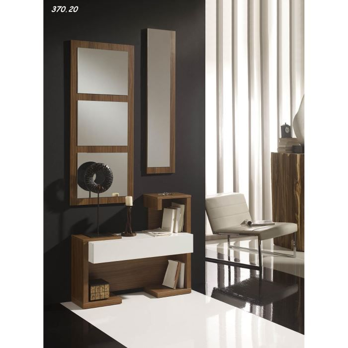 console avec miroir vera 21 20 noyer blanc achat vente console console avec miroir vera. Black Bedroom Furniture Sets. Home Design Ideas