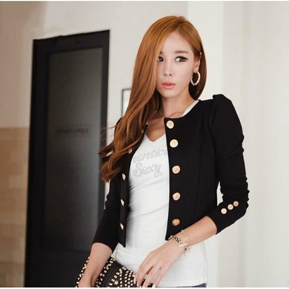 blazer femmes court ajust noire sexy col rond noir achat vente costume tailleur. Black Bedroom Furniture Sets. Home Design Ideas