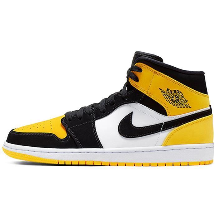 Airs Jordans 1 Mid Jaune Chaussures de Basket Airs Jordans One AJ1 ...