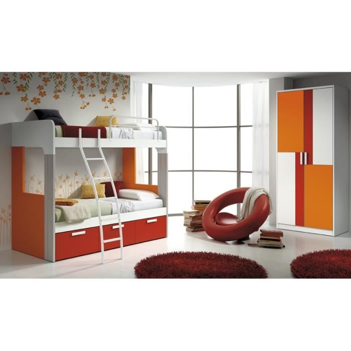 Lits superpos s kora avec armoire achat vente chambre compl te lits superpos s kora avec a - Lits superposes 3 couchages ...