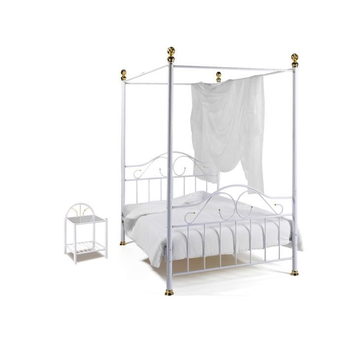 ensemble lit baldaquin et 2 chevets blanc c achat. Black Bedroom Furniture Sets. Home Design Ideas