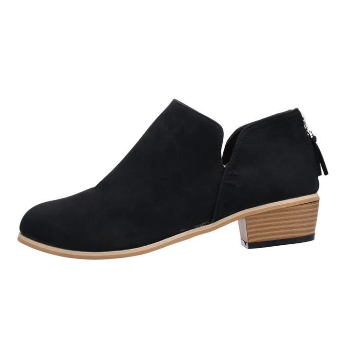 Cheville Martin Courtes Chaussures Solide Automne Bottes Femmes Cuir Mode yini3189 6tgqw