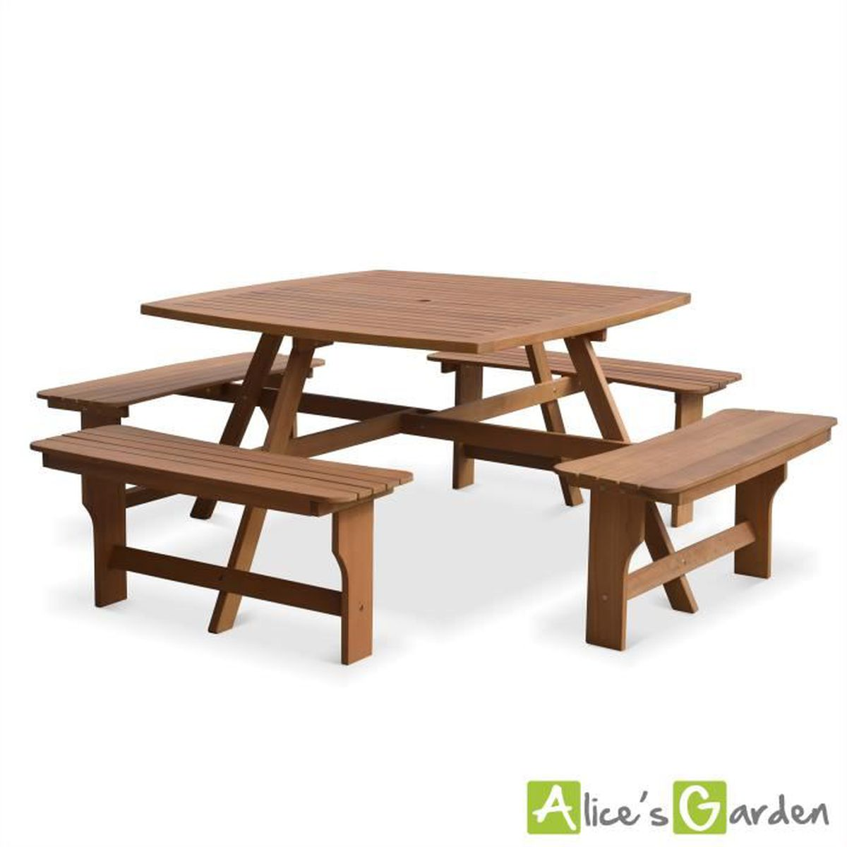 Table de pique nique Llanca 120cm carrée avec 4 bancs, salon ...