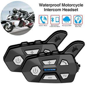 INTERCOM MOTO 2PCS Casque Moto Bluetooth Intercom de Cavalier po