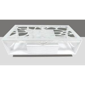 TABLE BASSE Table basse plateau en verre Trempé pieds en MDF