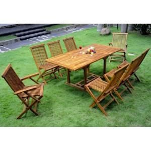 Salon en teck ensemble de jardin table 8 chaises achat for Ensemble table et chaise 6 personnes