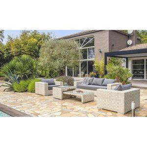Salon de jardin résine tressée blanc haut de gamme - Tosca ...