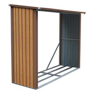 ABRI BÛCHES   Abri bûches en métal couleur bois 4.5 stères