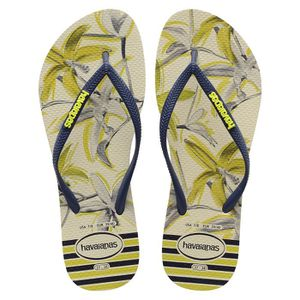 TONG Havaianas Slim Tropical Tongs Beige Bleu Marine Ta