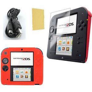 PACK ACCESSOIRE Pack 3 en 1 Nintendo 2DS : Housse silicone rouge -