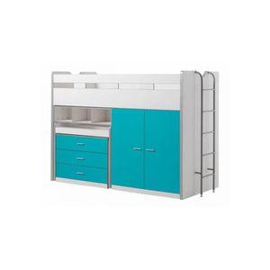 LIT MEZZANINE Vipack Lit mezzanine Bonny 90 x 200 cm Turquoise