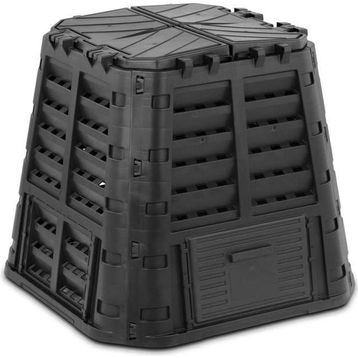 Composteur De Jardin Bac De Compostage Rapide D'Extérieur Plastique Noir 480 L