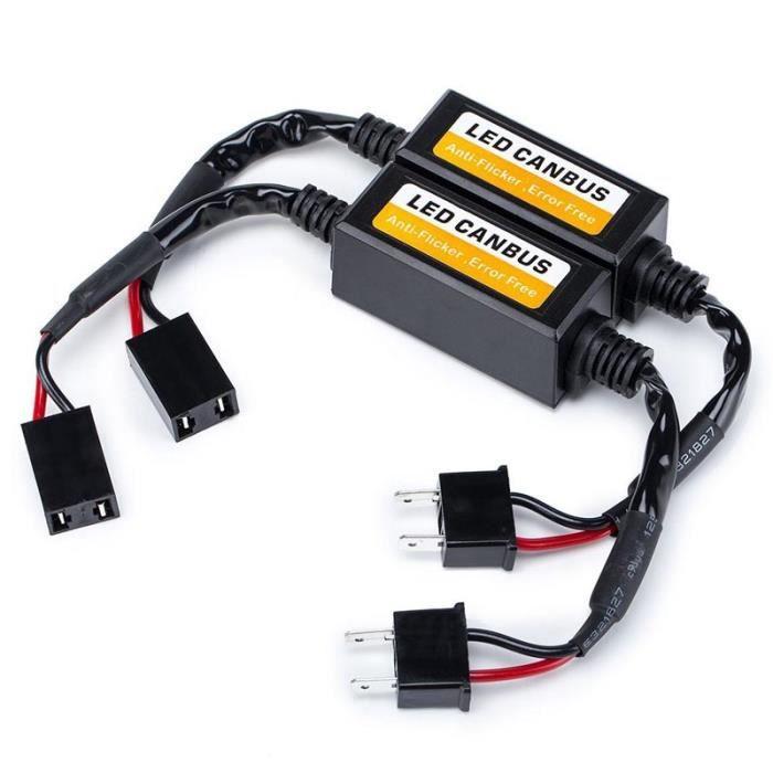Voiture H7 Ampoule LED Decodeur Resistance de Clignotant LED Erreur Canbus Avertissement Canceller et Anti Scintillement Plug & Play