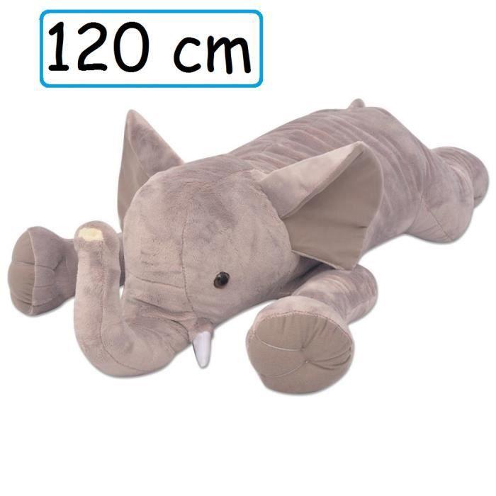 Peluche Elephant Doudou Géant 120 cm XXL pour enfant adulte calins décoration cadeau Jouet anniversaire noel fête