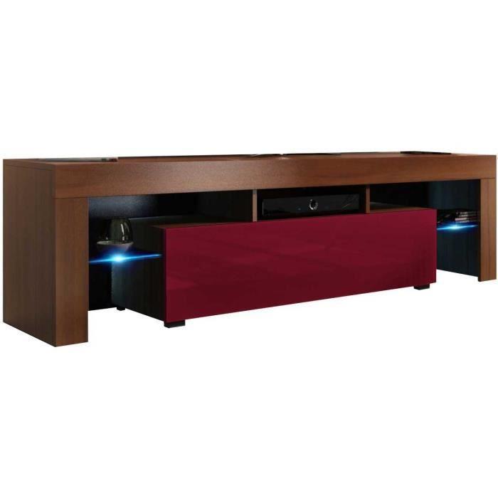 Meuble tv 160 cm aspect noyer / bordeaux brillant + led rgb