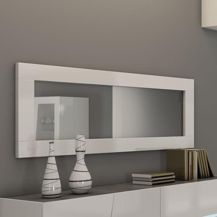 Miroir rectangulaire 180x60 cm blanc laqué design LAUREA Blanc