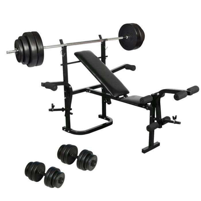 Banc de musculation complet avec Haltère long et Set d'haltères
