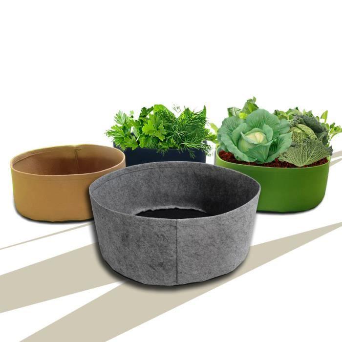PAN® 4 Pack 50*20㎝ Sacs de Culture Étoffe Tissée Sacs de Plantation Pots d'aération sans Poignées Noir