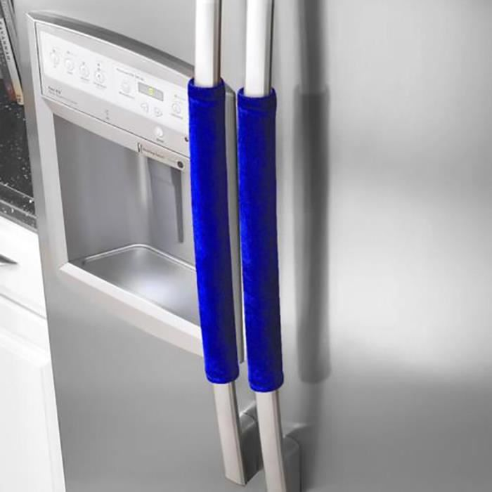 Couvre bouton de porte de réfrigérateur 2 pièces appareil de cuisine couvercle de poignée décor bavures porte - Type Bleu