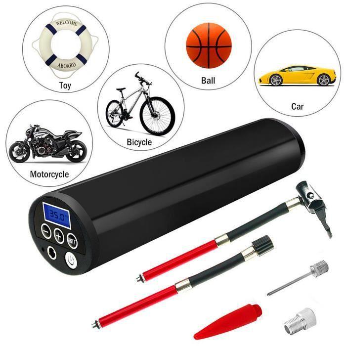 Compresseur d'Air Portable Mini Gonfleur Electrique Digital avec Ecran LCD Lampe LED à Batteire de Lithium-lon 12V 150PSI, Noir