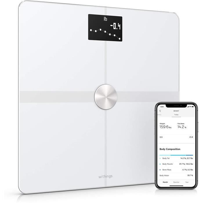Withings Body+ - Balance Connectée WiFi et Bluetooth avec Analyse de la Composition Corporelle (Poids, Masse Grasse/Musculaire/Osseu
